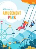 Boa vinda colorida do cartaz ao plano do parque de diversões ilustração do vetor