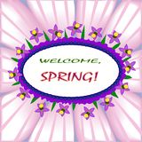 Boa vinda, composição da mola com motivo floral Fotografia de Stock