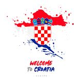 Boa vinda a croatia Bandeira e mapa do país ilustração royalty free