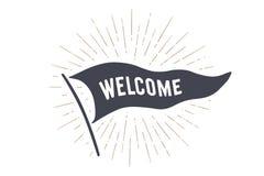 Boa vinda da bandeira Bandeira da bandeira da velha escola Imagem de Stock Royalty Free
