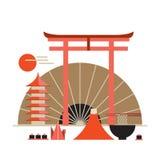 Boa vinda da coleção dos elementos do projeto de Ásia à bandeira de Japão Imagem de Stock