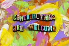 Boa vinda da contribuição para dar para doar a bondade da ajuda da caridade para agradecer-lhe foto de stock