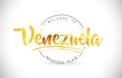 Boa vinda da Venezuela para exprimir o texto com fonte escrita à mão e dourado Imagens de Stock
