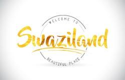 Boa vinda de Suazilândia para exprimir o texto com fonte escrita à mão e dourado Foto de Stock