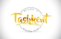 Boa vinda de Tashkent para exprimir o texto com fonte escrita à mão e T dourado Fotos de Stock
