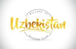 Boa vinda de Usbequistão para exprimir o texto com fonte escrita à mão e dourado Foto de Stock Royalty Free