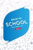 Boa vinda de volta à escola Bandeira e tampa verticais com grupo de ícones da garatuja no fundo branco conceito para a educação I Fotografia de Stock Royalty Free