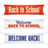 Boa vinda de volta às bandeiras de escola Imagem de Stock Royalty Free