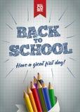 Boa vinda de volta ao cartaz da escola Foto de Stock