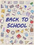 Boa vinda de volta ao cartaz da escola com as garatujas, boas para o projeto da tela de matéria têxtil, o papel de envolvimento e fotos de stock