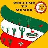 Boa vinda do cartaz a México com a imagem da bandeira mexicana, do sombreiro, das pimentas de pimentão picantes, dos maracas e de Imagem de Stock Royalty Free