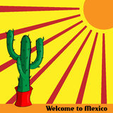 Boa vinda do cartaz a México com a imagem do cacto e do sol mexicanos Fotografia de Stock Royalty Free