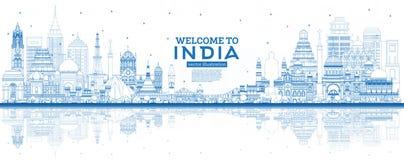 Boa vinda do esboço à skyline da cidade da Índia com construções azuis e reflexões ilustração do vetor