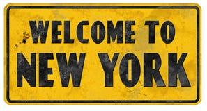 Boa vinda do Grunge do sinal de rua de New York City imagem de stock