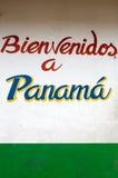 Boa vinda do sinal em Panamá em Sixaola Fotografia de Stock