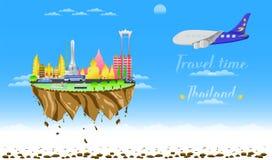 Boa vinda do tempo de viagem à ilustração eps10 do vetor do flutuador do país da cidade de Tailândia ilustração royalty free