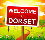 A boa vinda a Dorset representa Reino Unido e Reino Unido Foto de Stock