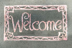 Boa vinda, inscrição no giz Fotos de Stock Royalty Free