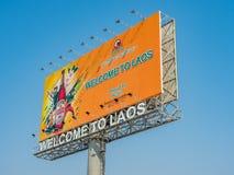 Boa vinda a Laos, Beerlao Vientiane, Laos fotografia de stock