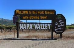 Boa vinda a Napa Valley Fotografia de Stock