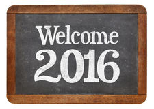 Boa vinda 2016 no quadro-negro Fotos de Stock Royalty Free