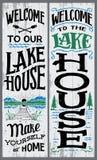 Boa vinda a nosso sinal da casa do lago ilustração royalty free