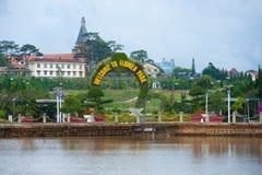 Boa vinda para florescer o parque em Dalat, Vietname Imagens de Stock Royalty Free