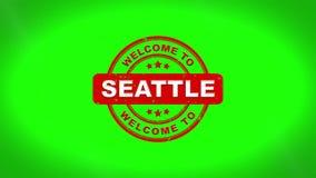 A boa vinda a SEATTLE assinou o carimbo da animação de madeira do selo do texto ilustração royalty free