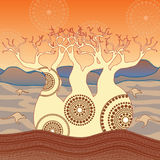 Boab Baobab Tree Vector Painting. Aboriginal dot art vector background Royalty Free Illustration