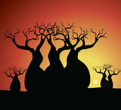 Boab & x28;Baobab& x29; Tree Vector Painting. Aboriginal dot art vector background Stock Illustration