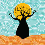 Boab & x28;Baobab& x29; Tree Vector Painting. Aboriginal dot art vector background Vector Illustration