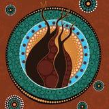 Boab Baobab Tree Vector Painting. Aboriginal dot art vector background royalty free illustration