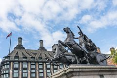 Boadicea and Her Daughters. Bronze chariot statue of Boadicea and Her Daughters. The statue that facing Big Ben in London commission in 1850 Stock Photo