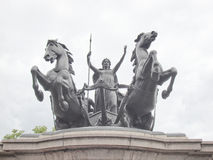 Boadicea monument, London. Statue of Boadicea Boudicca Queen of the Iceni who died AD 61 after leading her people against the Roman invader in UK Stock Photos