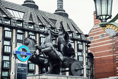 Boadicea statue and Portcullis house in London Royalty Free Stock Image