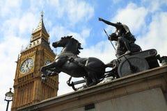Boadiceastandbeeld en Big Ben, Londen Royalty-vrije Stock Afbeelding