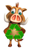 Boar cartoon character with recycle sign Stock Images