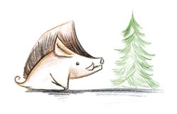 Boar and Christmas tree. Hand drawn sketch illustration with colored pencils.  royalty free illustration
