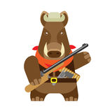 Boar with a gun Royalty Free Stock Photo