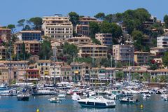 Boat harbour in Mallorca, Spain. Mallorca, Spain - June 26, 2017: Boats anchored in the port of Soller, a coastal village located on the western side of the Stock Photo