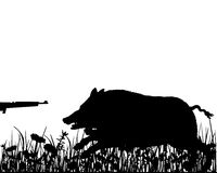 Boar hunting. Detailed and colorful illustration of boar hunting Royalty Free Stock Images
