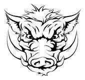 Boar mascot face. Drawing of a boar animal character or sports mascot Stock Image