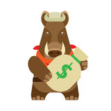 Boar with money bag Stock Images