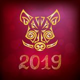 Boar, pig head isolated on red background. Symbol of Chinese 2019 New Year. Vector illustration. Stylized Maori face tattoo Royalty Free Stock Photos