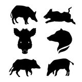 Boar set vector. Boar set of silhouettes vector stock illustration
