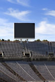 Board above empty tribunes on Barcelona Olympic Stadium on May 10, 2010 in Barcelona, Spain. Stock Image