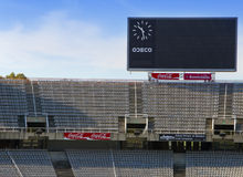 Board above empty tribunes on Barcelona Olympic Stadium on May 10, 2010 in Barcelona, Spain. Stock Photo