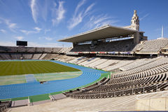 Board above empty tribunes on Barcelona Olympic Stadium on May 10, 2010 in Barcelona, Spain. Royalty Free Stock Images