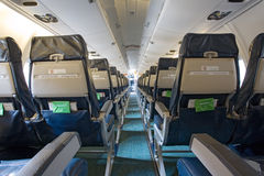 Board of the airplane. Inside view Stock Photo