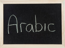 Board with ARABIC. A black board with a wooden frame and the word 'ARABIC' written in chalk Royalty Free Stock Image
